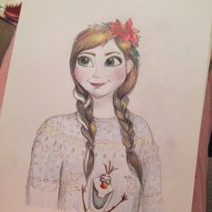 Frozen Anna in a christmas jumper by Paige Joanna Illustration