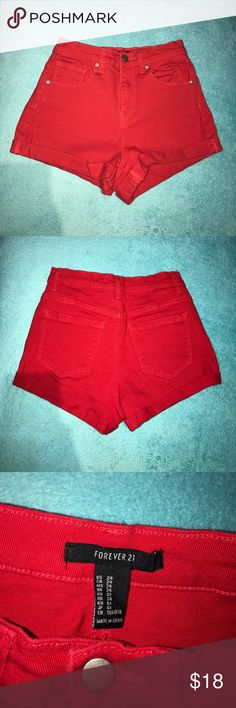F21 Red High Waisted Shorts OPEN TO OFFERS -- Size 24 -- Forever 21 -- WORN ONCE -- perfect for the summer! Forever 21 Shorts Jean Shorts