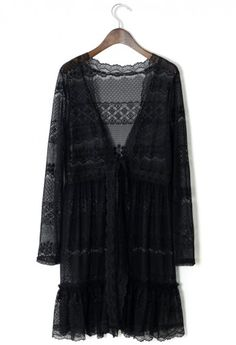 Full Lace Cardigan in Black - Outers - Retro, Indie and Unique Fashion