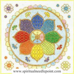"Spiritual needlepoint - Rainbow Mandala, hand-painted, 9"" x 9"" on 13 mesh canvas, made in Sedona, Arizona"