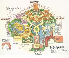 Early conceptual layout for Hong Kong Disneyland (dated 1997)