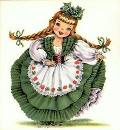 Vintage Home Arts - Counted Cross Stitch Pattern Chart Graph - International Doll Ireland Irish Doll IrishDoll Vintage Greeting Cards, Vintage Postcards, Vintage Images, St Patrick's Day, St Patricks Day Cards, Saint Patricks, Irish Girls, Hallmark Cards, Graphics Fairy