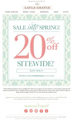 20% Off Sitewide* Thru 4/20! *Exclusions apply. Shop the Spring sale now >> www.laylagrayce.com #spring #sale #shop #interiordesign #women #children #baby