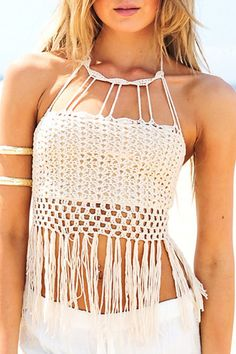2015 Europe And Crochet Knit Tassel Swimwear Biquini Handmade Crochet Bikini Beach Fringed Crochet Tops Sexy Bra Wrapped Chest Crop Top Styles, Cropped Tops, Tops Halter, Halter Neck, Glenda, Trendy Outfits, Cute Outfits, Knitted Tank Top, Lace Tank