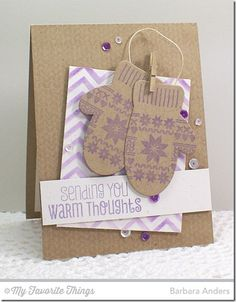Cozy Greetings, Cozy Mittens stamp set and Die-namics, Nordic Knits, Small Chevron Stripes Stencil - Barbara Anders #mftstamps