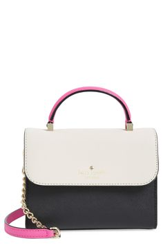 Impeccably crafted and perfectly compact, this Kate Spade crossbody is a structured, ladylike look that's ideal for everyday wear. An optional chain-link-and-leather crossbody strap accented in gold and pink complete a chic look.