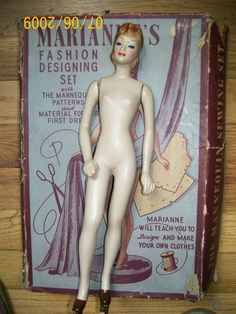 Marianne 12 inch mannequin made by latexture and came with her own patterns by simplicity and sewing notions in box , Circa 1940's