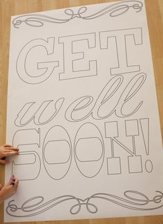 Free printable (and colorable!) giant get well soon card #freeprintable #getwellsoon