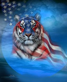 Tiger Flag Spirit Of Strength And independence. This artwork of a white tiger draped in an American Flag, with the flag and tiger merging, is from the Patriotic Collection of art by Carol Cavalaris. Beautiful Cats, Animals Beautiful, Cute Animals, Patriotic Pictures, Tiger Pictures, Tiger Wallpaper, Big Cats Art, Tiger Art, Flag Art