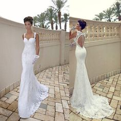 2014 Vintage Lace Wedding Dresses Sexy Mermaid Spaghetti Backless Bridal Gown