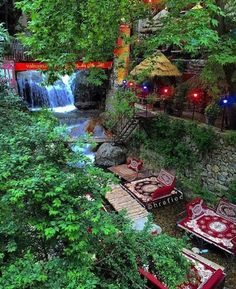 A traditional cafe at Darband, a popular hiking path leading to Mount Tochal. Tehran, Iran : iran