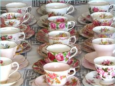 Shades of pink fine vintage tea cups for hire