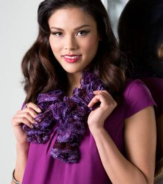 Pretty purple ruffle scarf!