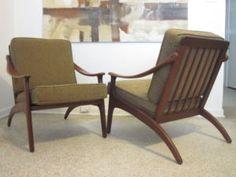 Pair Mid Century Danish Modern Teak Lounge Chairs