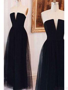 Strapless Black Long Tulle Prom Dresses Evening Dresses