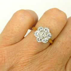 Vintage Diamond cluster engagement ring Platinum 18ct-18K gold English Antique Estate daisy halo flower ring 1.40ct c1930-1950s *FREE SHIP by antiquejewelbox on Etsy