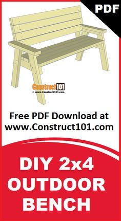 2x4 outdoor bench plans. Build it yourself projects, free PDF download. Includes shopping list, cutting list, drawings, and measurements.