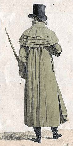 A caped overcoat called a garrick, can have up to five layered capes on the shoulders and a long, wide body, cut straight from armpits to just above the ankles, almost in an A-line pattern—though it is belted just under the armpits to give the high-waisted silhouette.
