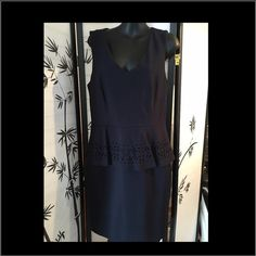 Philosophy Navy Blue Peplum Dress ~NWT  Philosophy Navy Blue Peplum Dress ~NWT pretty detailing on the peplum and back zipper ~ new with tags ~ size 8 Philosophy Dresses Midi