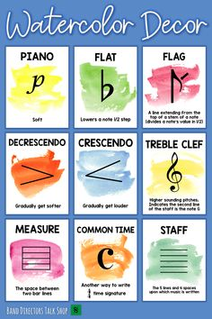 Watercolor Music Symbols Posters - Need music bulletin board ideas? This music classroom decor set is beautiful! With bright pops of c - Music Word Walls, Music Words, Music Music, Choir Room, Music Bulletin Boards, Middle School Music, Music Symbols, Piano Teaching, Teaching Tools