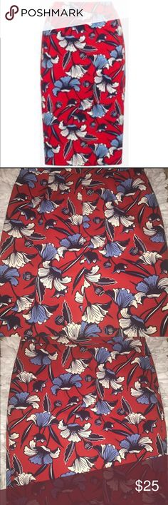 Jcrew pencil skirt Jcrew red and blue floral pencil skirt J. Crew Skirts Pencil
