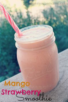 Mango Strawberry Smoothie: 1/2 cup plain Greek yogurt 1/2 cup orange juice 1 1/2 cup strawberries 1 cup mango, diced 1 cup ice