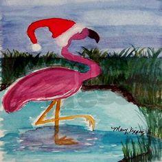 Santa Flamingo Ornament (Round) on CafePress.com