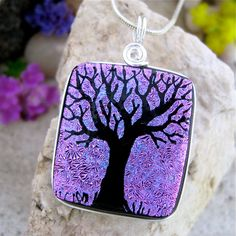 Dichroic Glass Pendant Hand Etched Tree Purple by UniqueDichroic