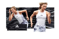 Making a run for it, Karlie Kloss appears in adidas by Stella McCartney's spring 2017 advertising campaign