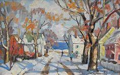 """""""Winter in Rockport,"""" Ken Knowles, oil on board, 6 x 8"""", Blue Hill Bay Gallery."""