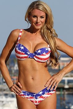 Faded vintage American flag bikini, faded two piece bathing suit