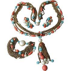 Vintage 1960's Faux Turquoise, Coral, Pearl & Multi Chain Tassel Necklace, Bracelet & Earrings Set