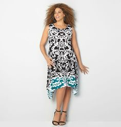Find the latest dress prints for spring in plus sizes 14-32 like the Damask Sharkbite Dress available online at avenue.com. Avenue Store