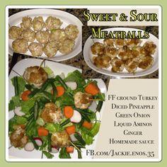 Homemade ff turkey meatballs homemade sugar free sweet and sour sauce