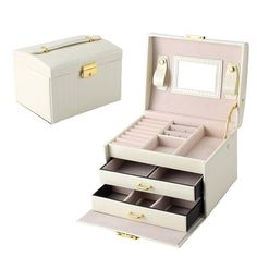 Leather Jewelry Casket Storage Box With Mirror Necklaces Rings Box Organizer Holder Makeup Container Case For Women aliexpress.com