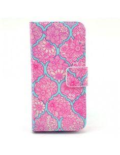 Δερμάτινη Θήκη Πορτοφόλι με Βάση Στήριξης για iPhone 5c - Ροζ Λουλούδια