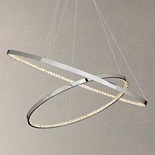 Buy John Lewis Zephyr LED Dual Ring Pendant Ceiling Light, Chrome Online at johnlewis.com