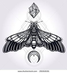 Butterfly moth with moons and stones Elegant design tattoo art Isolated vector illustration Trendy Vintage style element Dark romance, love, spirituality, occultism, alchemy, magic, mysticism - Shutterstock