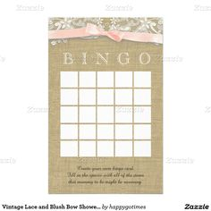 Vintage Lace and Blush Bow Shower Bingo Stationery