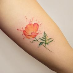 Watercolor poppy tattoo by Georgia Grey