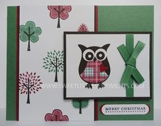 Sweet Little Sentiments - handcrafted, cute owl christmas card