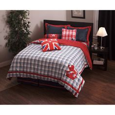 @Overstock - The English Laundry Stockport set includes a duvet cover with an embroidered English lion, two matching embroidered shams with red flanges, and a Union Jack decorative pillow. A navy box pleated bed skirt completes the set.http://www.overstock.com/Bedding-Bath/English-Laundry-7-piece-Stockport-Duvet-Cover-Set/6737796/product.html?CID=214117 $149.99