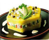 Causa rellena, peruvian food. Had this when i was in peru! YUMMMMMMMY!