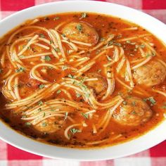 Spaghetti and Meatball Soup 6 smartpoints - weight watchers recipes