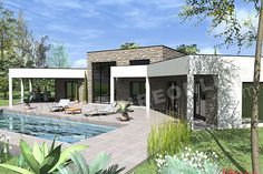 plan de maison en V contemporaine AMAZONE chambres