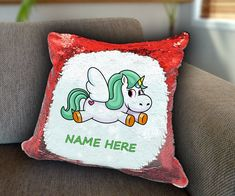 Flying Unicorn Personalized Sequin Cushion cover with your name unicorn sequin pillow personalised sequin cushion cover magic sequin cover by funkytshirtsfactory on Etsy Sequin Pillow, Unicorn Cushion, Father And Baby, Baby Shirts, Cushion Covers, Soft Fabrics, Cushions, Sequins