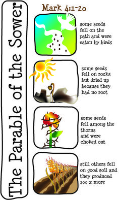 Bulletin Cover – Mark The Parable of the Sower Preschool Bible, Bible Activities, Bible Lessons For Kids, Bible For Kids, Sunday School Lessons, Sunday School Crafts, School Kids, Parable Of The Sower For Kids, Bible Story Crafts