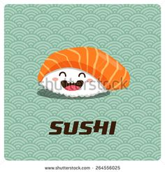 Vector cute sushi character illustration - stock vector
