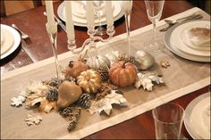 "How To DIY Thanksgiving ""Tablescape"" Centerpiece glitter pumpkins"