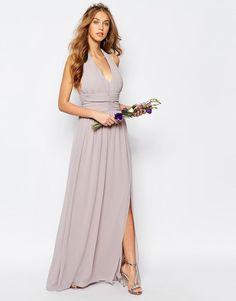 TFNC   TFNC - WEDDING - Vestito lungo in chiffon allacciato al collo su ASOS
